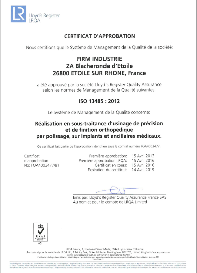 Certification 13485 Firm Industrie.