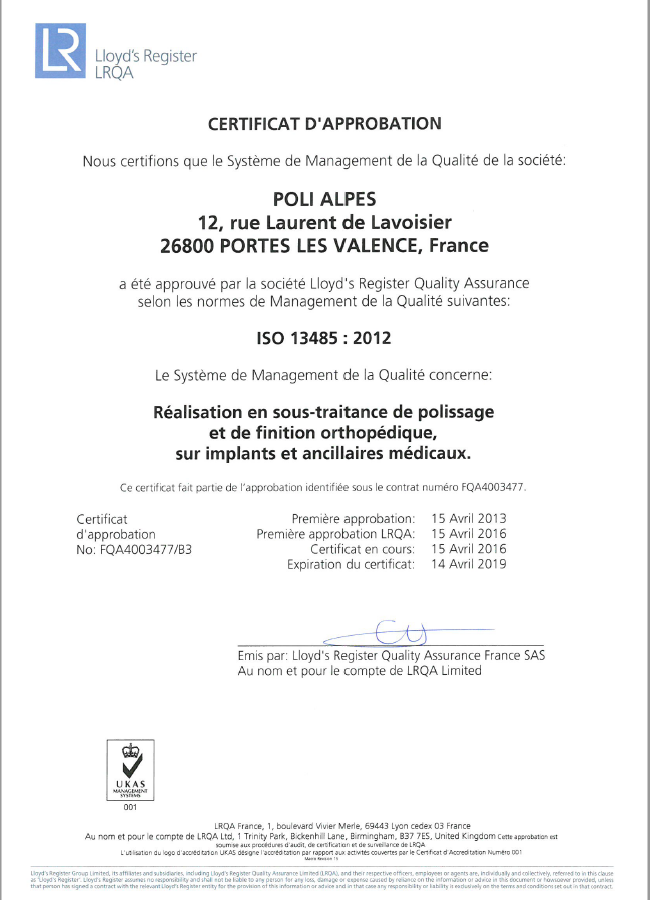 Certification 13485 Poli Alpes.