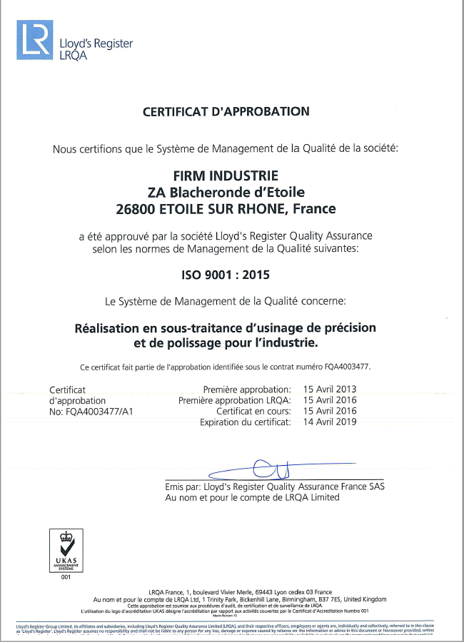 Certification 9001 Firm Industrie.