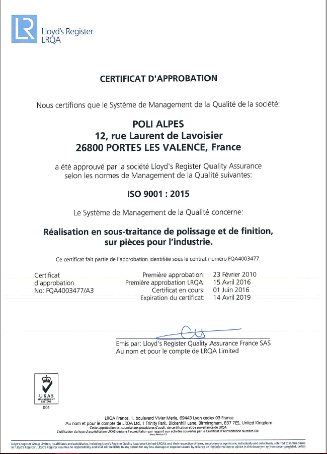 Certification 9001 Poli Alpes.